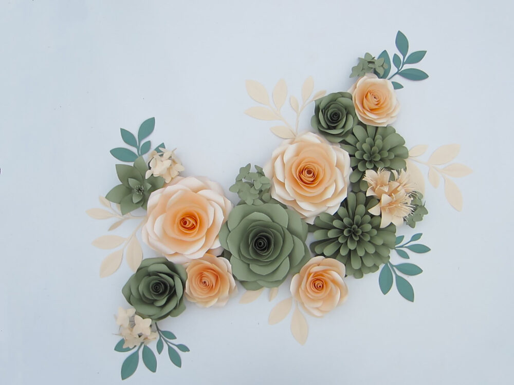 3D Large Paper Flowers Wall Backdrop For Nursery Decor, Giant Garden Party Green & Peach Art