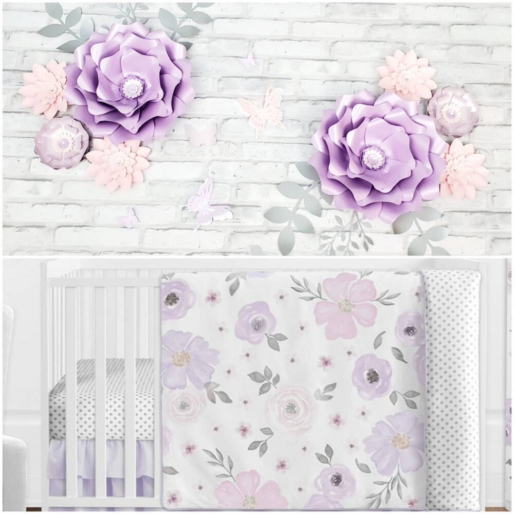 Purple & Pink Large Flowers For Nursery Wall. Eight 3D Paper Flowers. Girls Room Lavender Wall Decor Inspired By Sweet Jojo Bedding