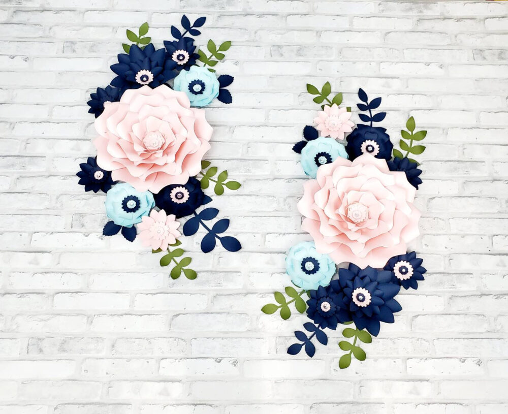 Navy, Light Blue & Pink Paper Flowers Wall Decor. Large Nursery For Wall. Girl's Room Floral Decor in Navy Pink