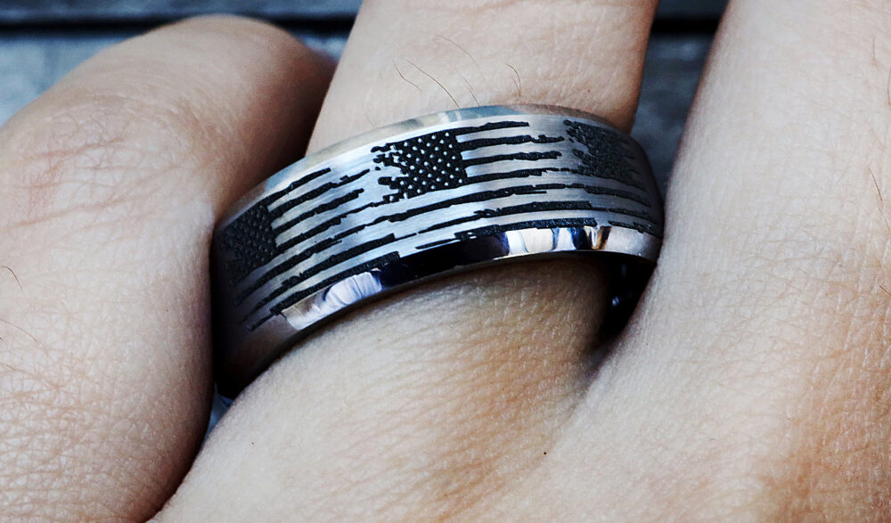 American Flag Wedding Ring, Military Engagement Patriotic Band, Usa United States Jewelry, Distressed Ring