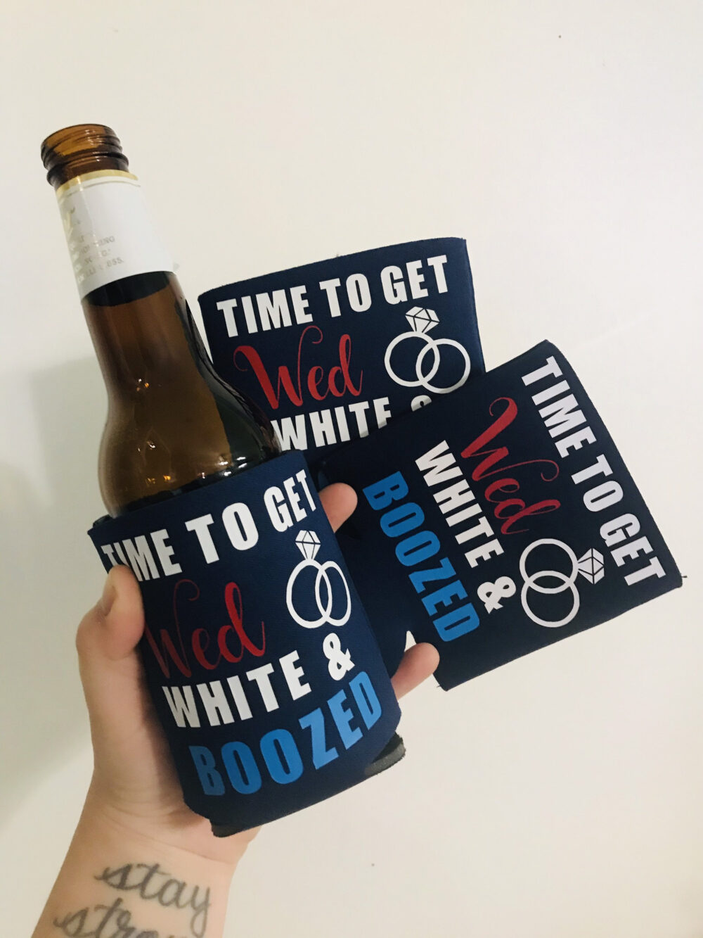 Custom Can Coolers - Covers Wedding Favors Wed White & Boozed Bachelorette Party 4Th Of July Military