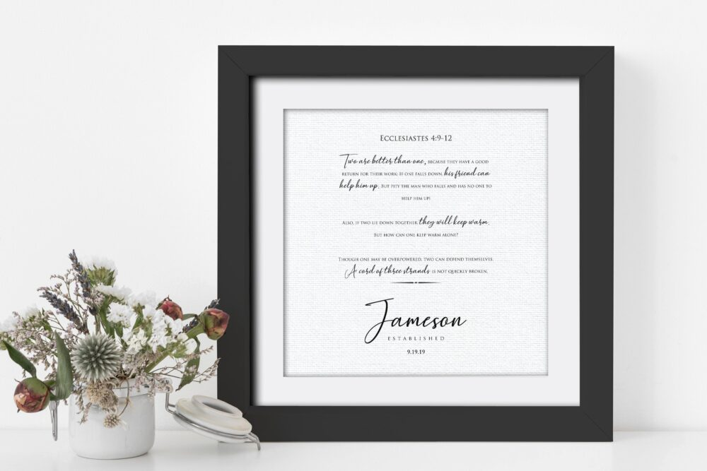 Ecclesiastes 49-12, Framed Wedding Date, Cord Of 3 Strands, Personalized Gift, Linen, Gift For Bride & Groom, 4Th Year Linen