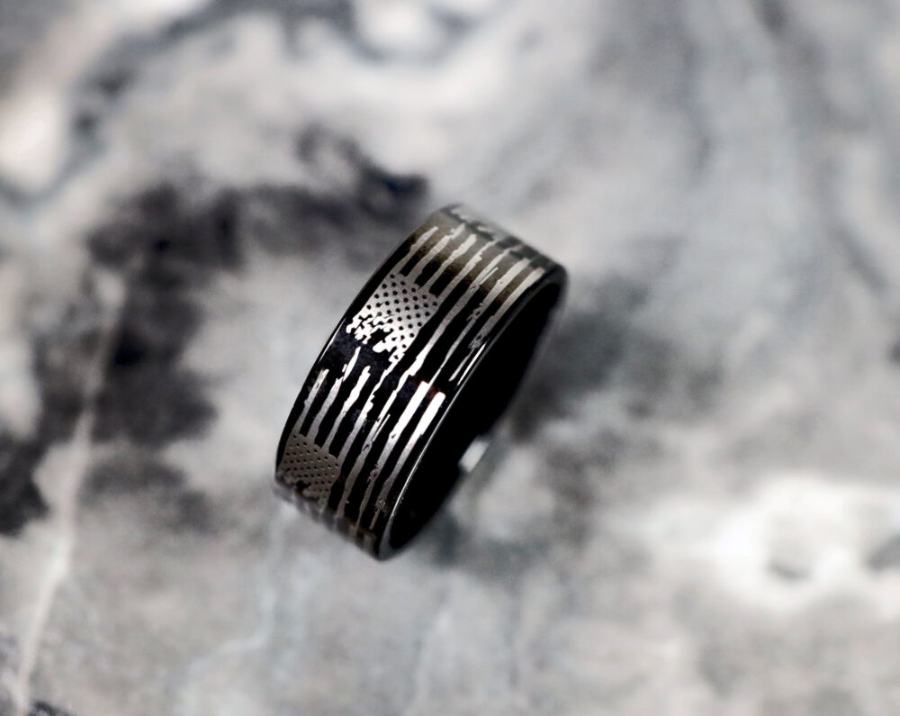 Distressed American Flag Wedding Band, Engagement Ring, Usa Jewelry, Patriotic Gift, Military Ring Jewelry