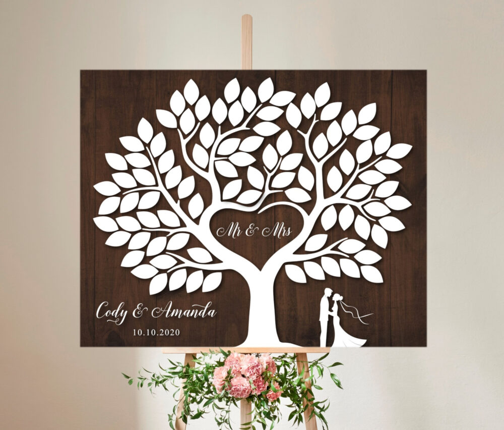 Wedding Guest Book Alternative Tree With 90 Signature Leaves, Rustic Wedding Canvas Tree Modern