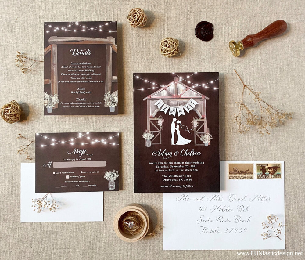 Barn Wedding Invitation Suite Rustic Invitations Fall Wood Country Invites Printed