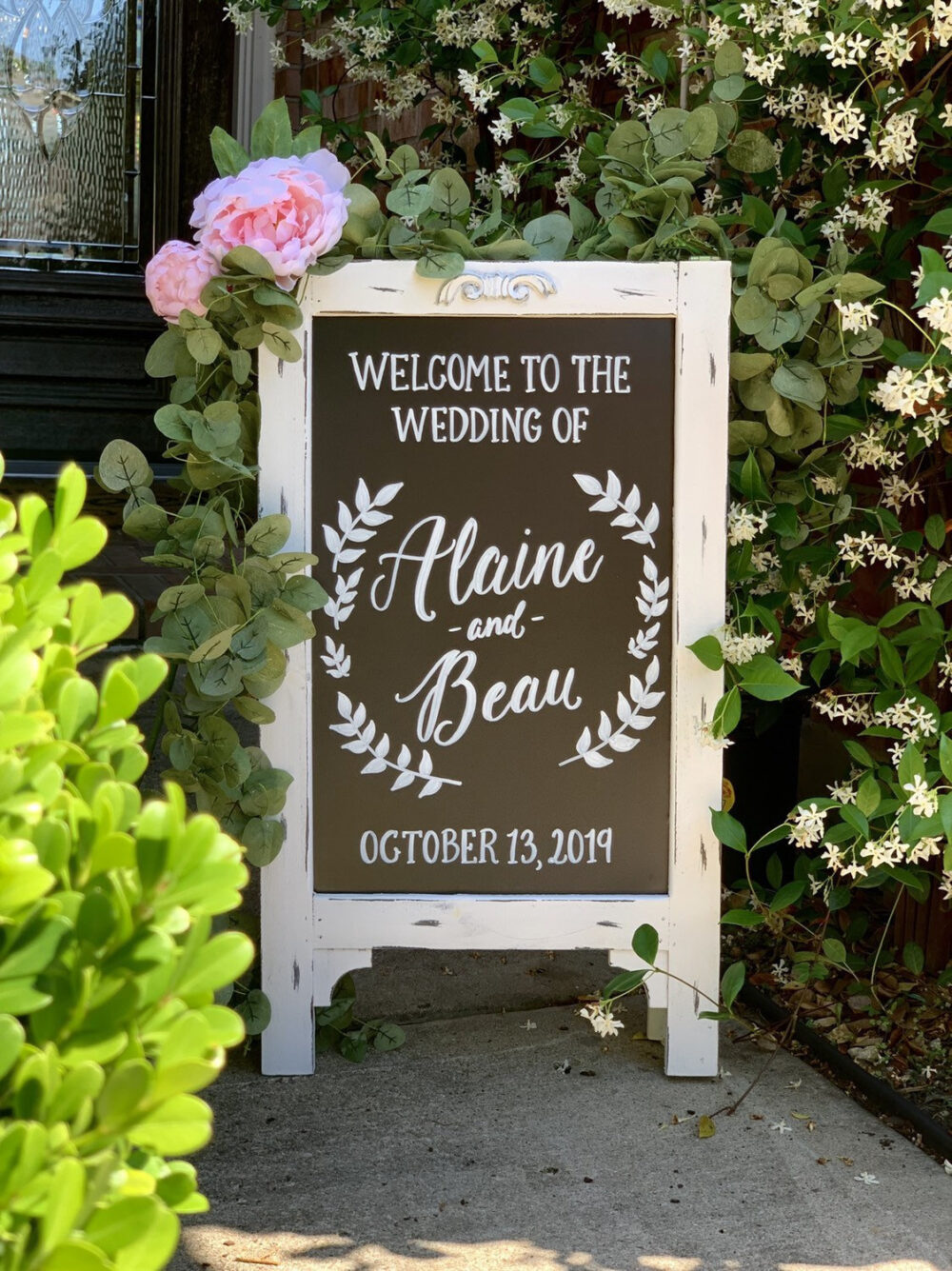 Welcome Sign For Wedding • Chalkboard Easel Couples Names & Date | Wedding Sandwich Board Easel