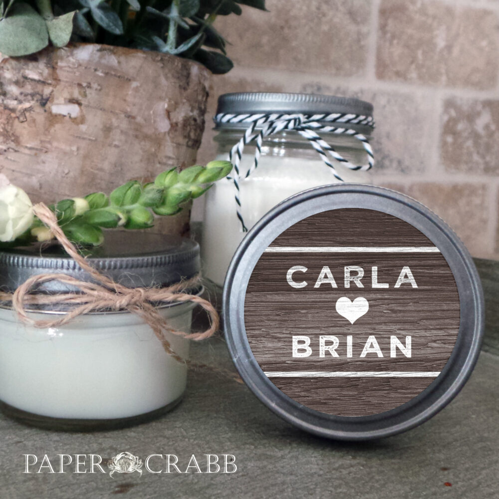 Soy Candle Wedding Favors - Set Of 12 4 Or 8 Oz Favor Candles Woodgrain Personalized Favors/Shower