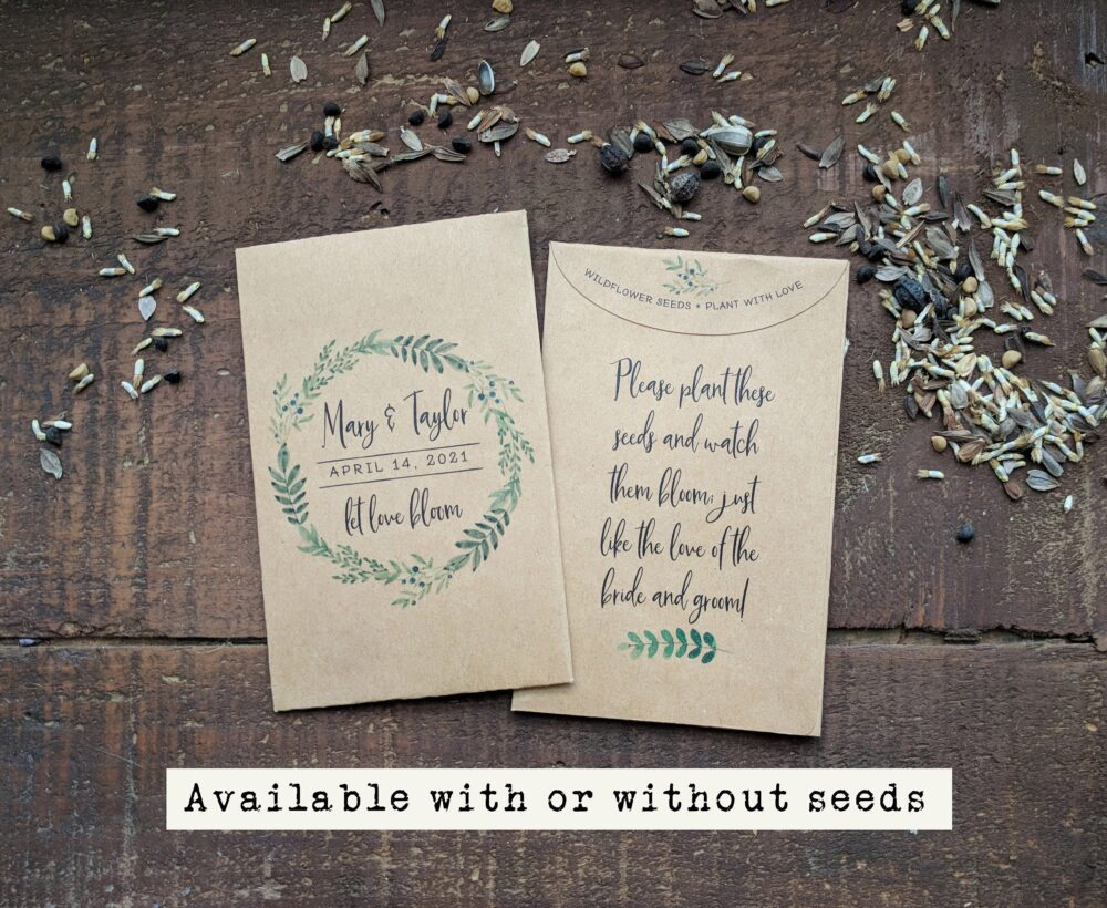 Wedding Favor Seed Packet, Unique Personalized Favor Gift For Guests, Let Love Bloom Rustic Bridal Shower Custom Seed Packet