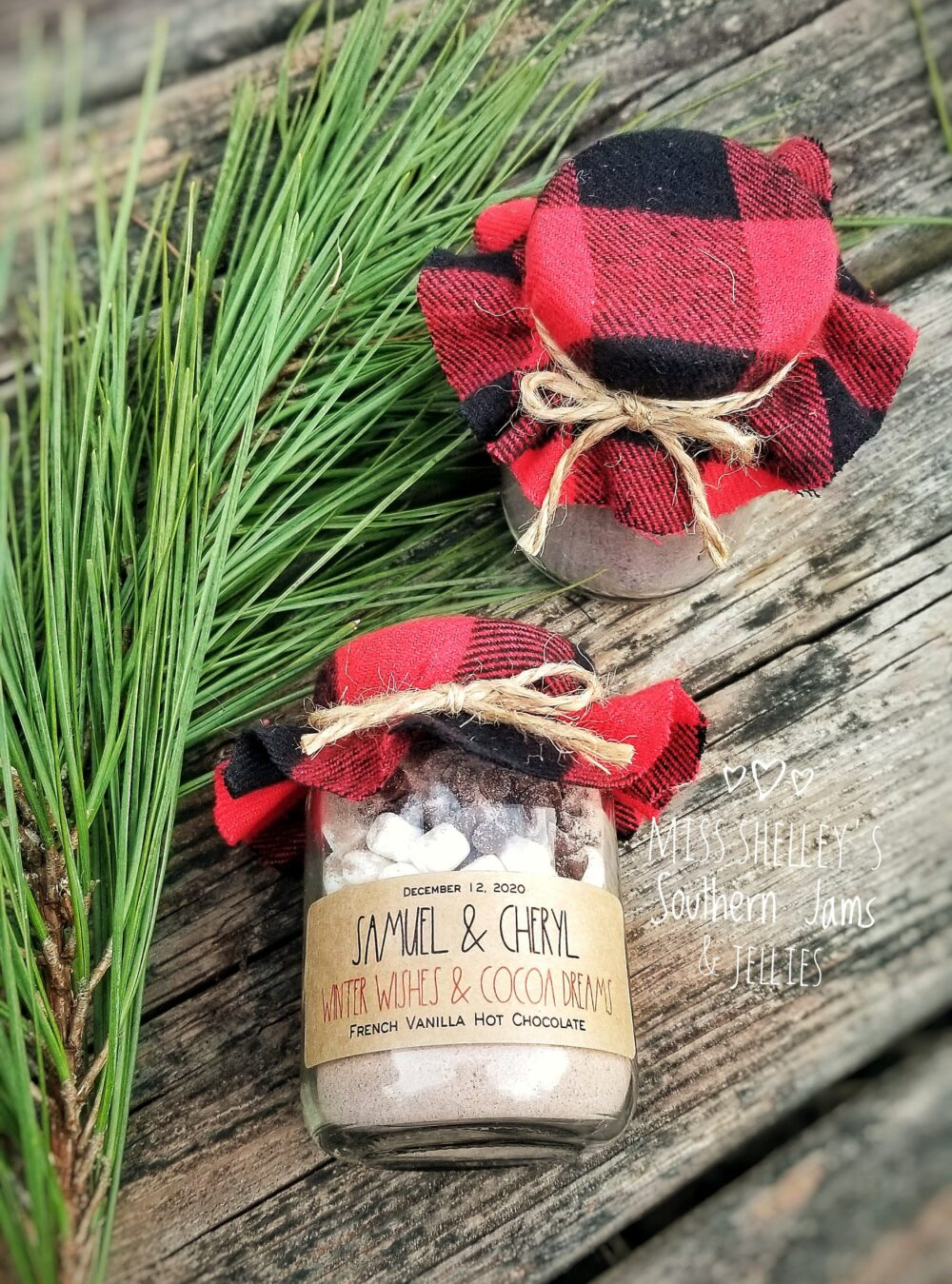 Rustic Winter Wedding Favor, | 24 Personalized Hot Chocolate Buffalo Plaid Favors, Edible Holiday Favor
