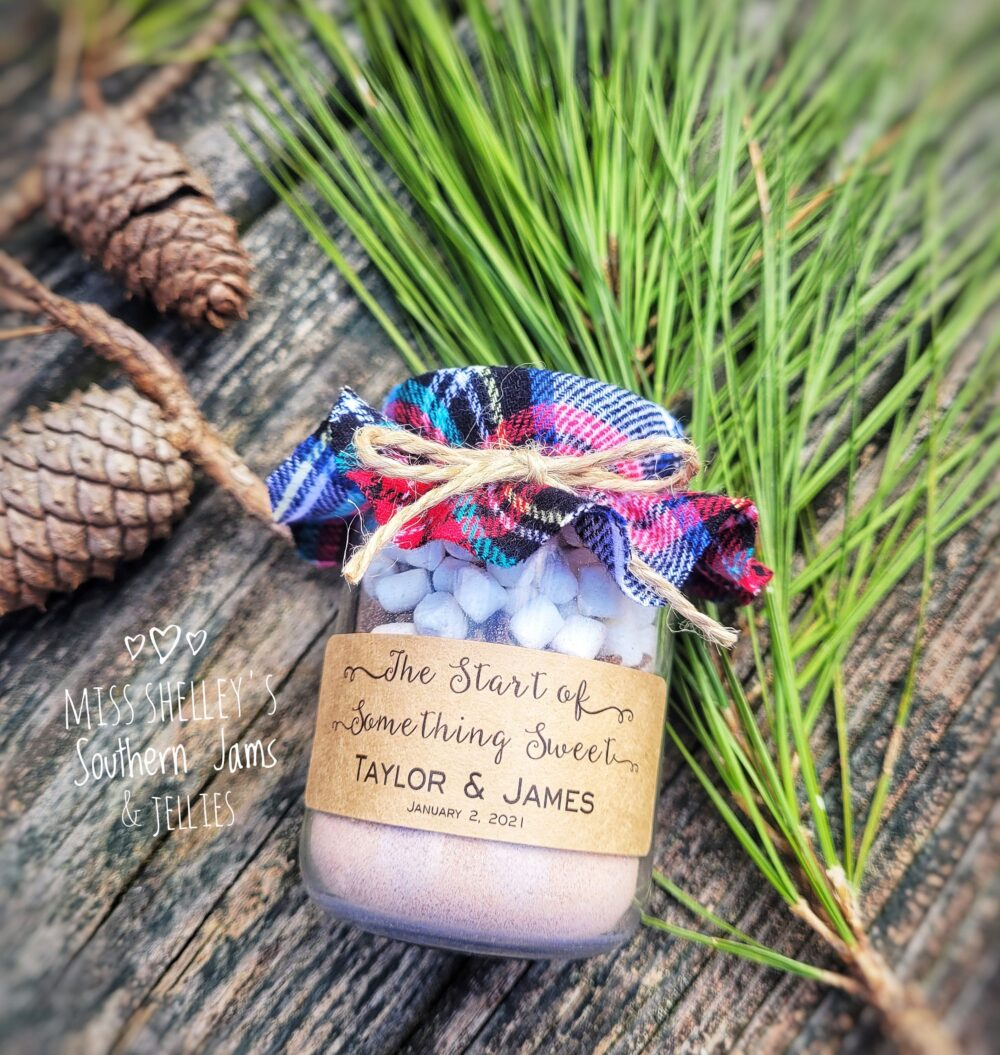 Winter Wedding Favor, 30 | 4Oz Personalized Hot Chocolate Rustic Favors, Edible Holiday Favor Cocoa