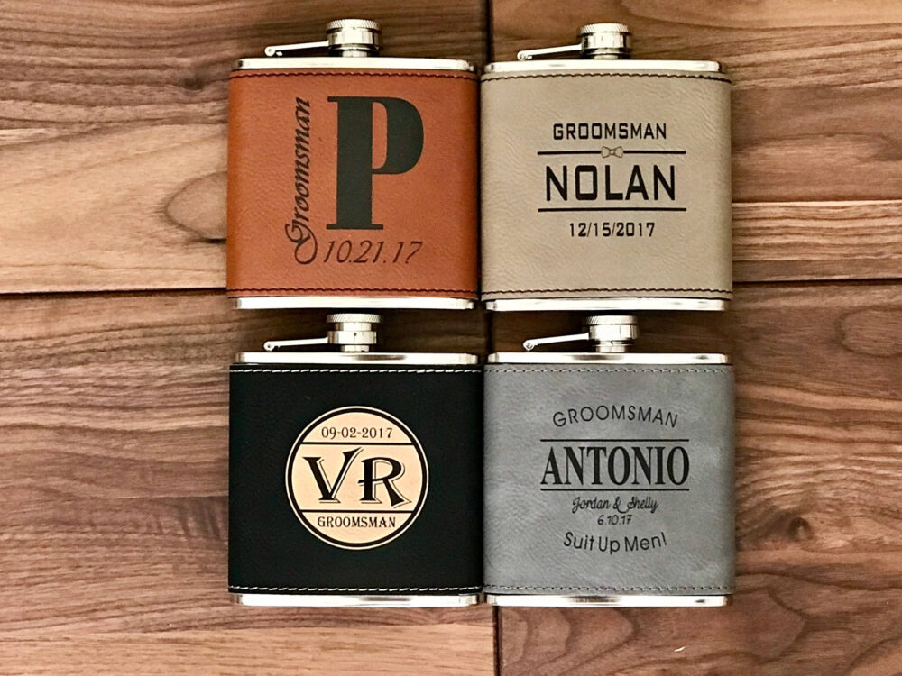 Engraved Hip Flask Wedding Gift, Personalized Groomsmen Customized Leather Anniversary