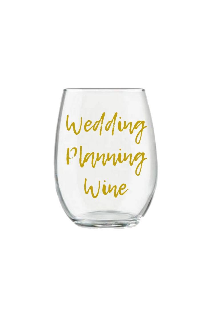 Wedding Planning Wine Glass Stemless Bride To Be Gift For The Planner in Gold Personalized