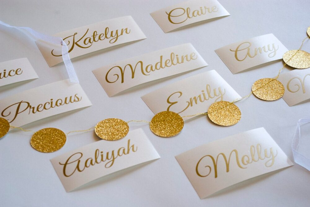 Custom Gold Name Sticker, Wedding Invitation Seals, Personalized Name Decal, Wine Glass Sticker, Stickers, Envelope Seals