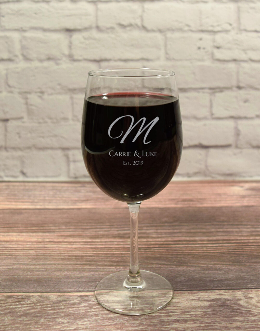 Wine Wedding Gift, Glass Personalized Wine, Monogram, Gift For Couple