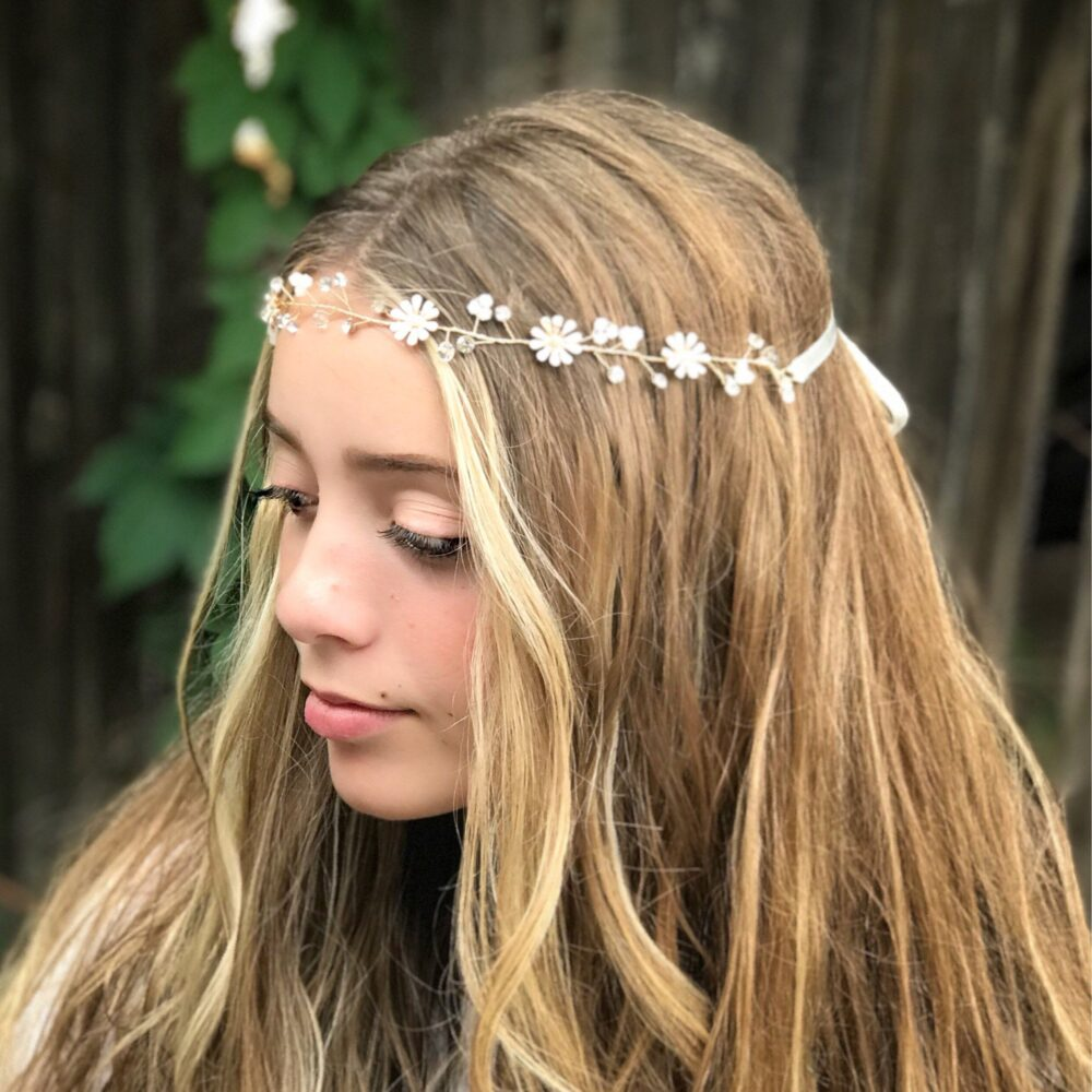 Flower Girl Headband, Wedding Hair Accessory, Bridal Vine, Accessory