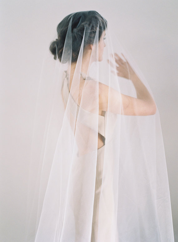 Drop Veil With Blusher White, Light Ivory Blush Wedding Cathedral Chapel Mantilla 2 Tier Bridal Barely There