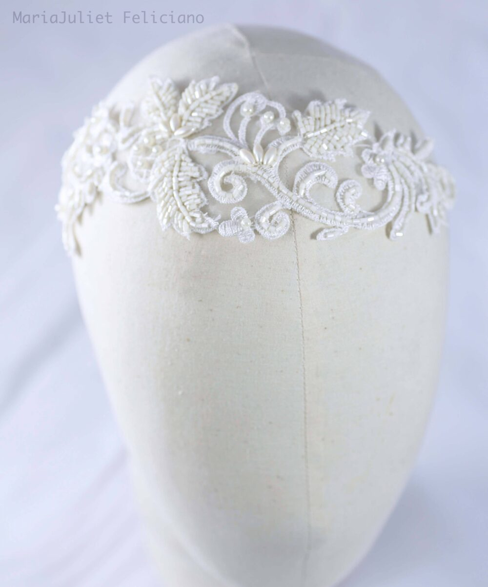 Vintage Ivory Lace Veil Bridal Hairpiece, Wedding Headpiece, Beaded Piece, Veil, French Chantilly Headpiece #leah