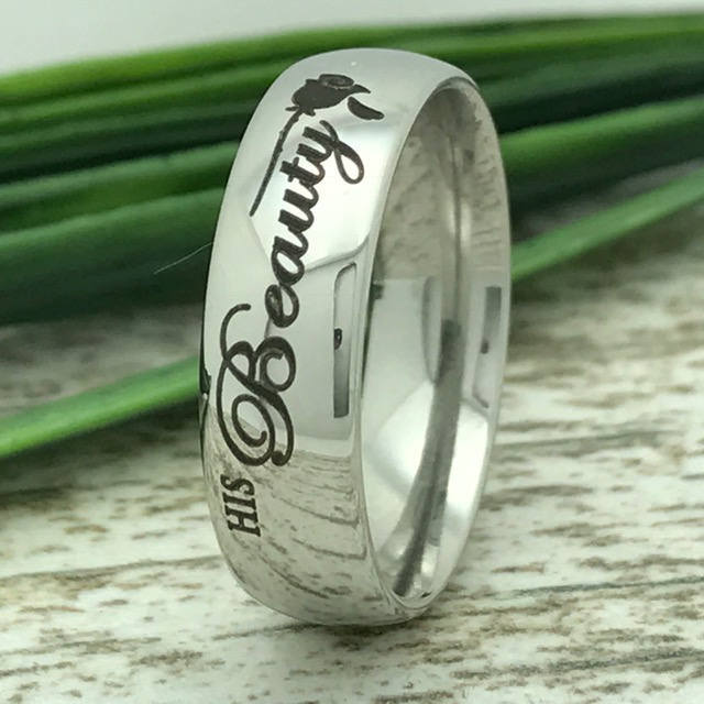 7mm Personalized Wedding Ring, Stainless Steel Ring, Ring For Her, Ring Him, Classic Dome