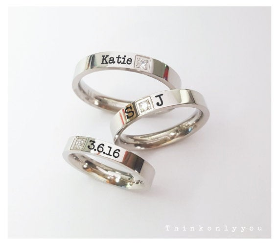 Personalized 3mm Wedding Band Stainless Steel, Couples Rings Set Custom Engraving Ring His & Her Promise Rings