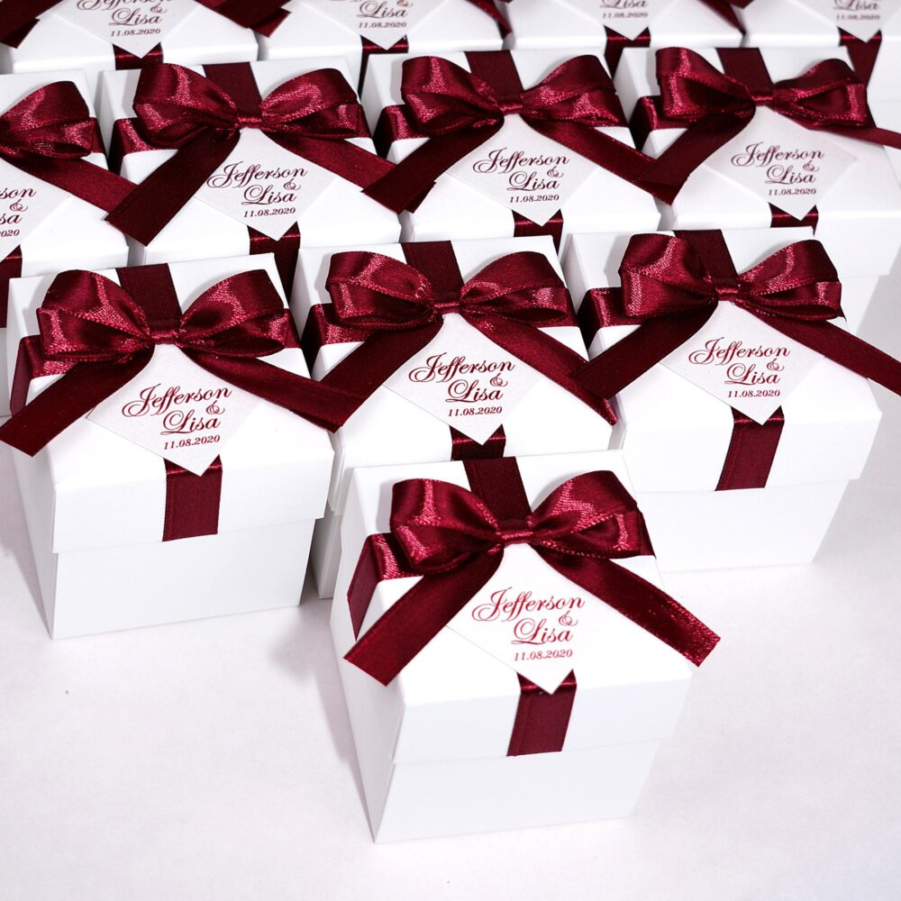 Elegant Wedding Bonbonniere, Favor Boxes With Wine Burgundy Satin Ribbon Bow & Personalized Tag, Custom Candy Box For Party Guests