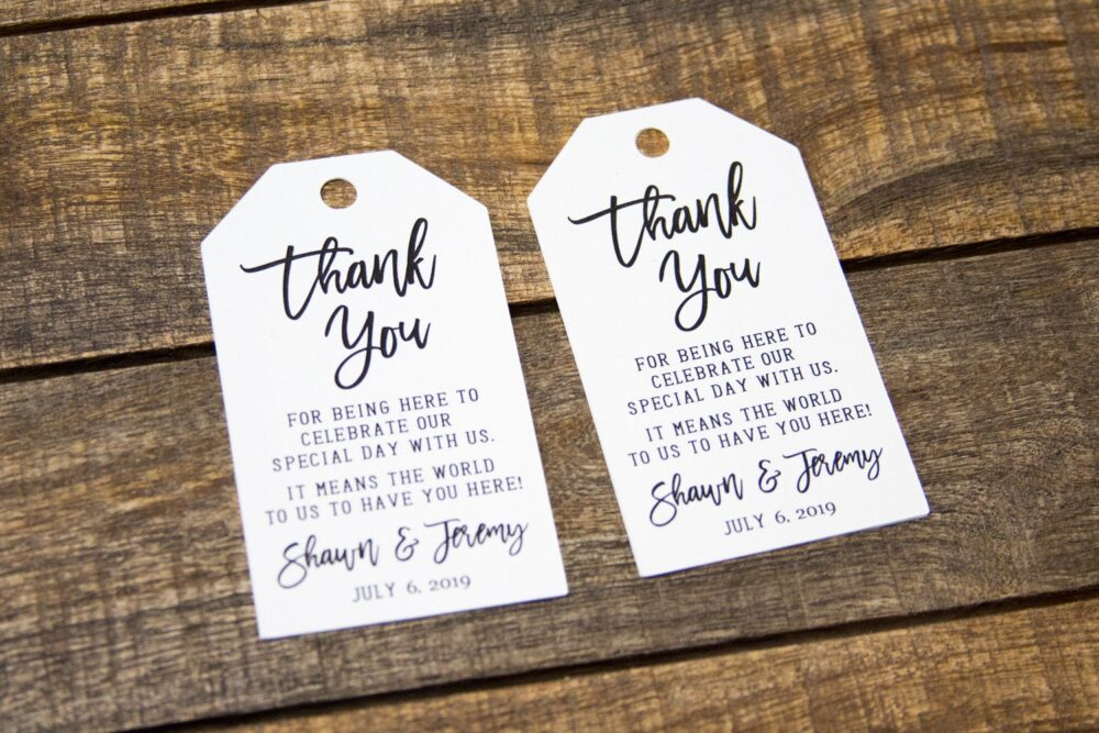 Thank You Tags - Wedding Favor Tag Luggage Custom Destination Micro Favors Large