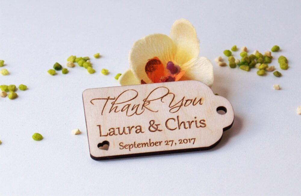 Thank You Wedding Tags-Wedding Favors-Wedding Favor Tags-Hearts Rustic-Wedding Tag-Custom Tags-Wooden Tags-Wood Tags