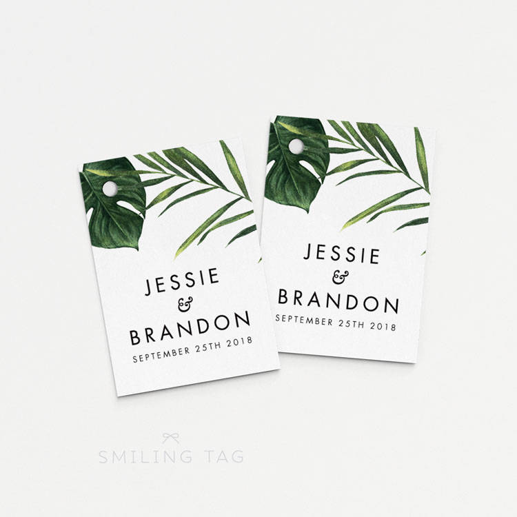 Printable Wedding Favor Tags - Modern Tropical Foliage Bachelorette Bridal Shower Favors Gift | Item Code P404