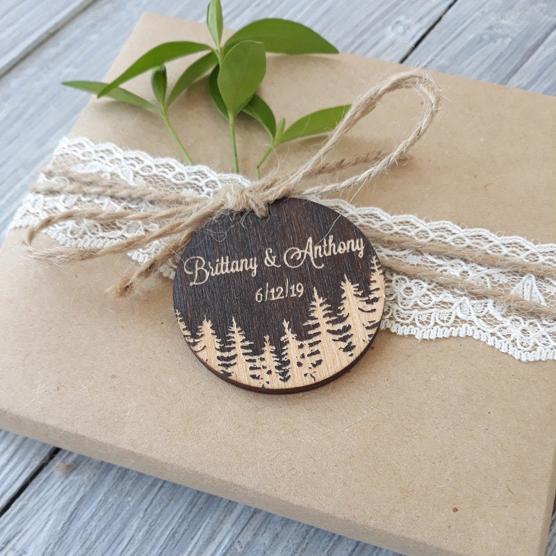 Round Wood Wedding Favor Tags, Gift Personalised Tags, Favor, Tags Favors, Personalized Favor