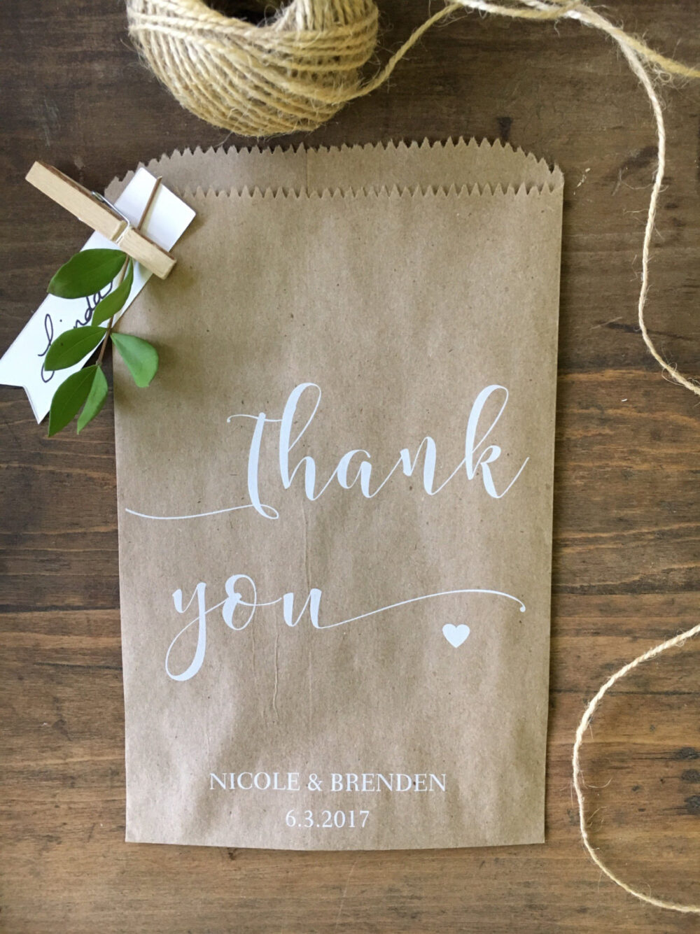 Wedding Cookie Bags, Thank You Rustic Candy Buffet Sacks, Custom Favors, Recycled Brown Paper Personalized Printed Sack