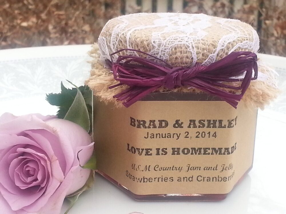 Jam Wedding Favors Laced 25 - 1.5 Oz Jar with Choice Of Flavors, Personalized Labels, Raffia Ribbon & Laced Burlap Topper