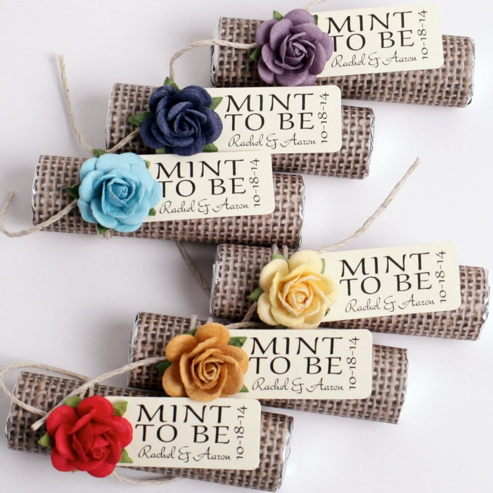 Wedding Favor With Personalized Tag, Mint To Be, Burlap, Vintage Wedding, Rustic, Country Bright Color Rose Mix, Red Wedding