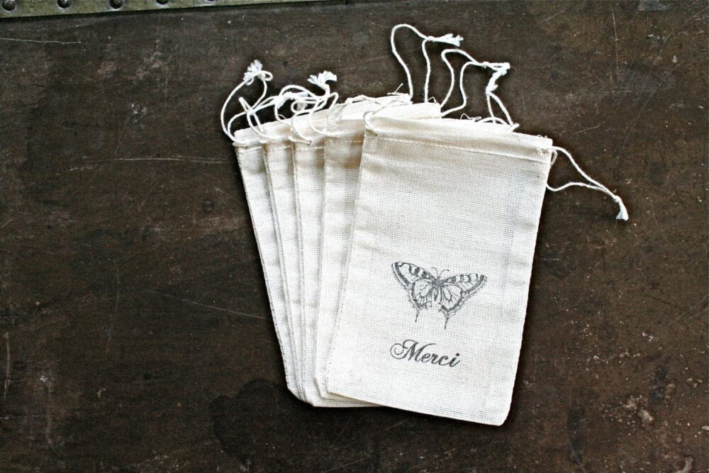 French Favor Bags For Wedding, Shower, Or Party - Drawstring Cloth With Vintage Butterfly, Script Merci Wedding, Party