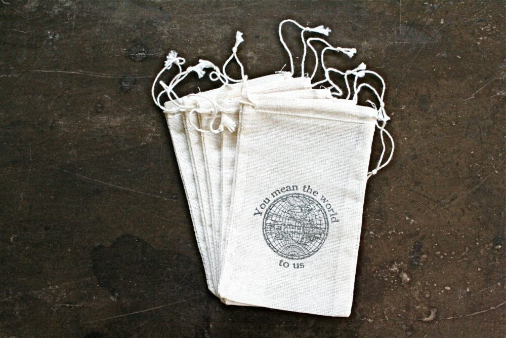 Travel Favor Bags For Wedding, Shower, Party - Cloth Gift Bags, You Mean The World To Us With Vintage Globe, Or Destination Wedding