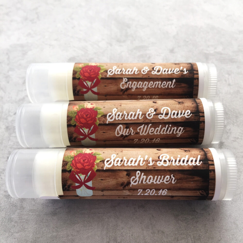 5Pc Rustic Red Vintage Blooms Wedding Party Favors/Wedding/Bridal/Lip Balm/Engagement Favors/Wedding Chapstick/Bridal Shower Favors