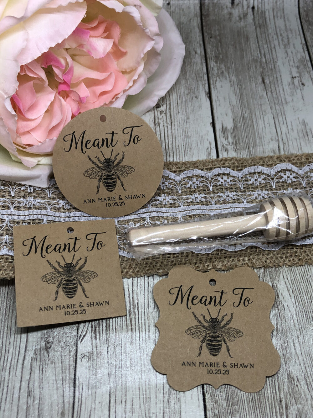 Pick Your Card Stock-Wedding Favor Tags, Wedding Vintage Honey Bee Mini Jar Meant To Tags