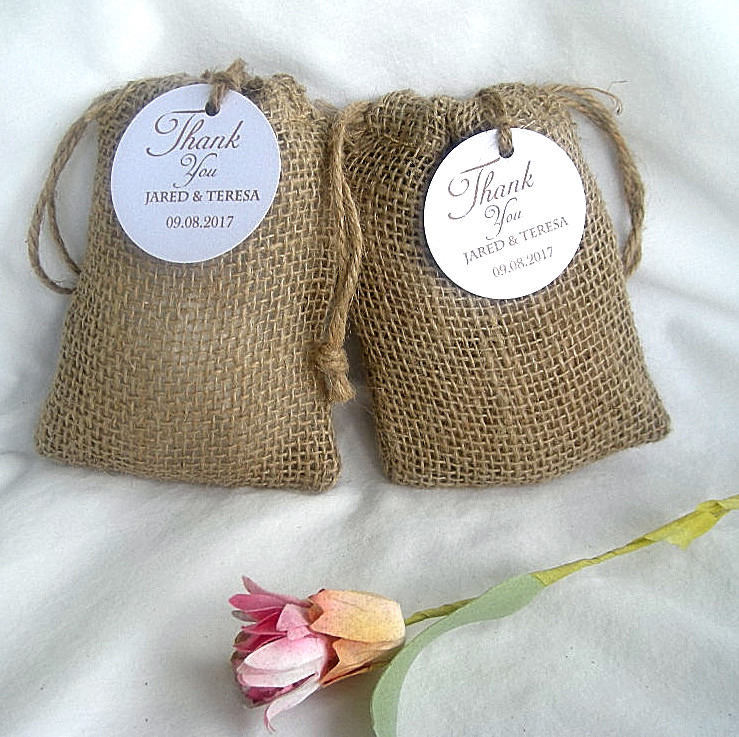 Thank You Favor Wedding Bag Rustic Burlap Vintage Bags Coffee W Custom Personalized Tags Birthday