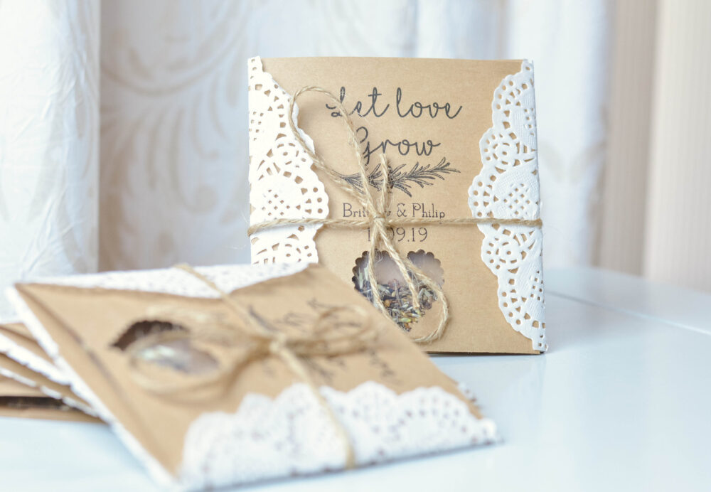 Wedding Seed Favor Wildflower Seeds Bridal Party Flower Packet Rustic Wedding Vintage Pack Classic Kraft Eco Friendly