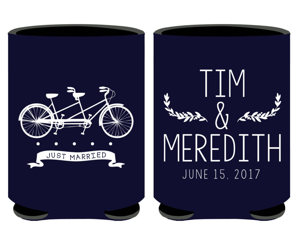 Tandem Bicycle Themed Wedding Can Coolers, Outdoor Favors, Vintage Boho | 3