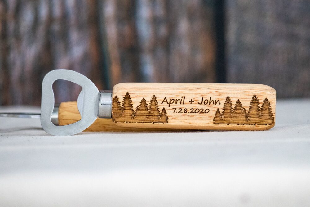 Rustic Wedding Favors, Trees Personalized Engraved Bottle Openers, Favor Favors For Guests