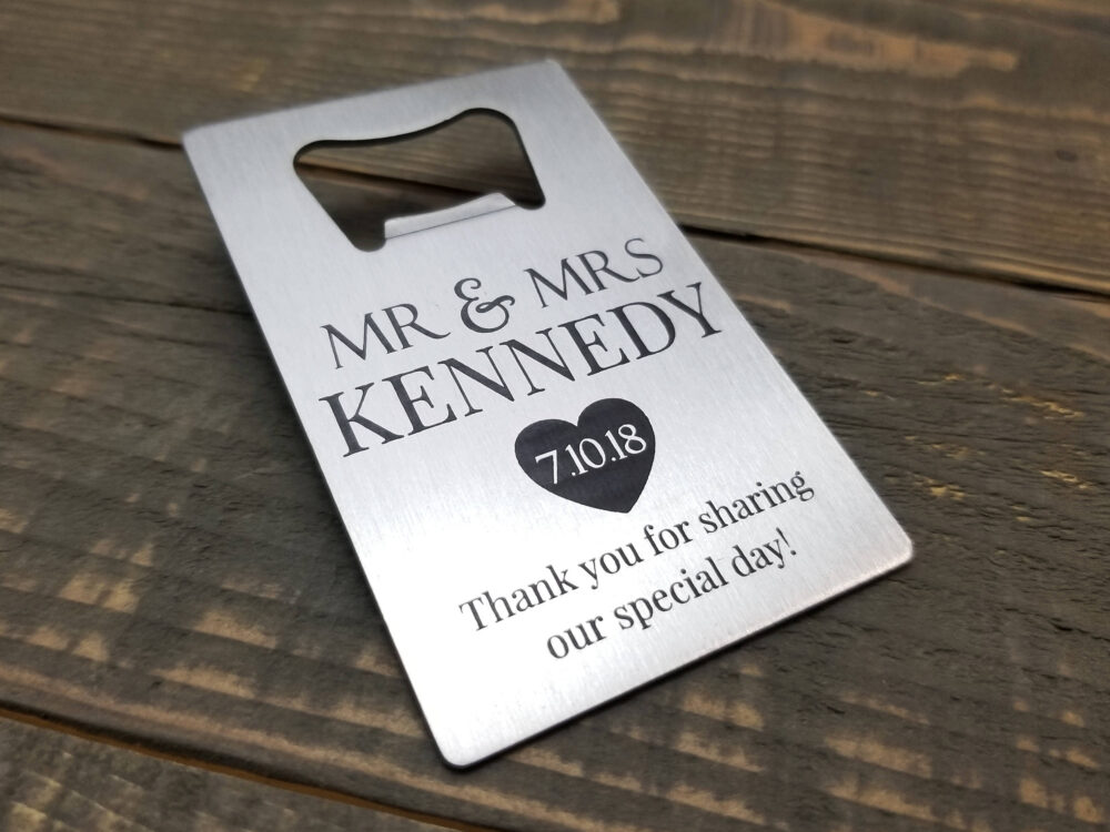 Personalized Wedding Favors - Laser Engraved Stainless Steel Bottle Opener Gifts Custom Beer Party