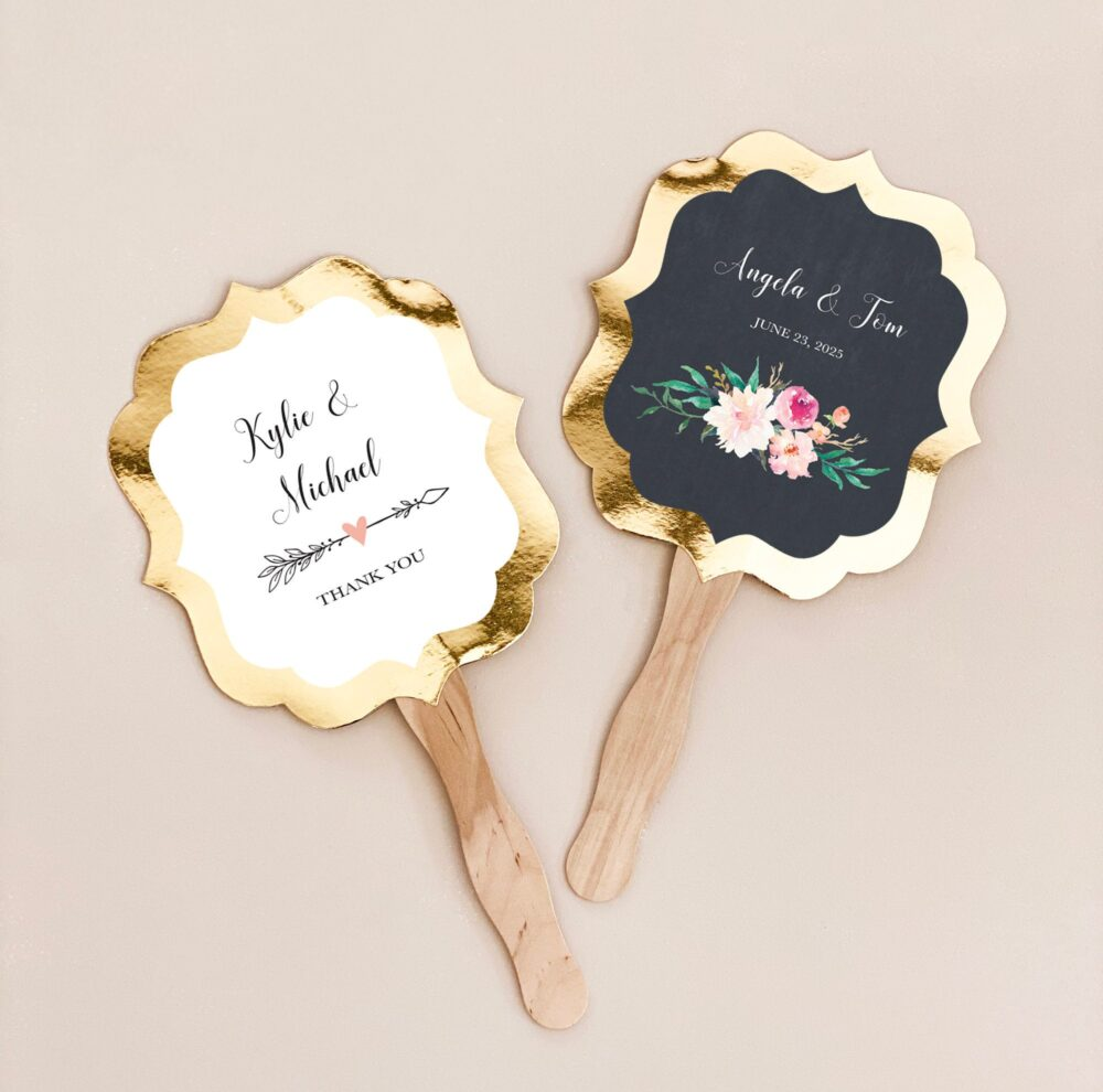 Wedding Fans Personalized Hand Fan Favors Rustic Paddle Ceremony Floral | Eb3204Gdn 24| Pcs