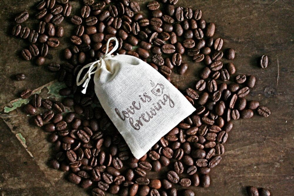 Coffee Favor Bags For Wedding, Shower, Or Party - Cotton Drawstring Bags, Hand Stamped Love Is Brewing, Coffee Tea Favors Guests