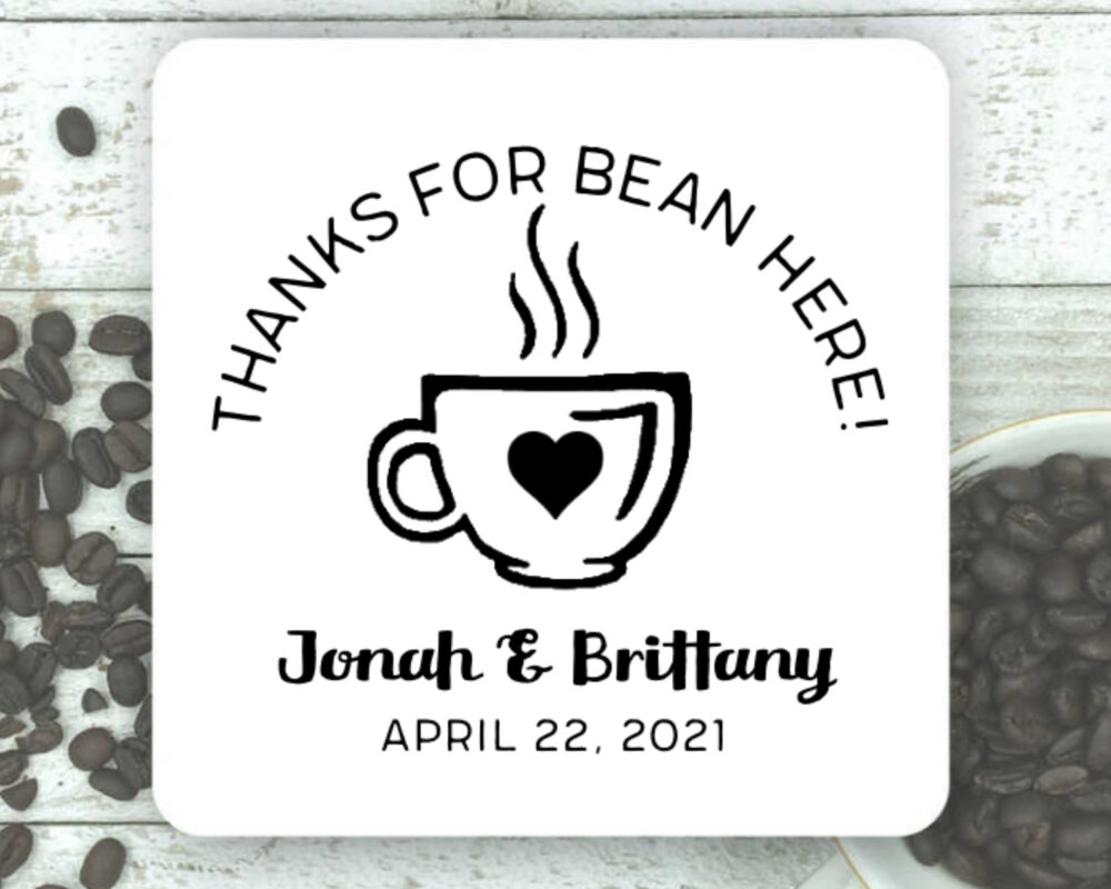 Personalized Coffee Favors For Wedding, Shower, Engagement - 20 Stickers, Clear Bags Coffee Beans Thanks Bean Here Gift Guests