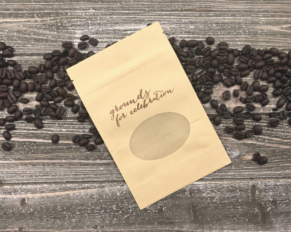 Coffee Favor Bags For Wedding, Shower, Party - Kraft Zipper Top Window Bags Beans, Ground Coffee Grounds Celebration