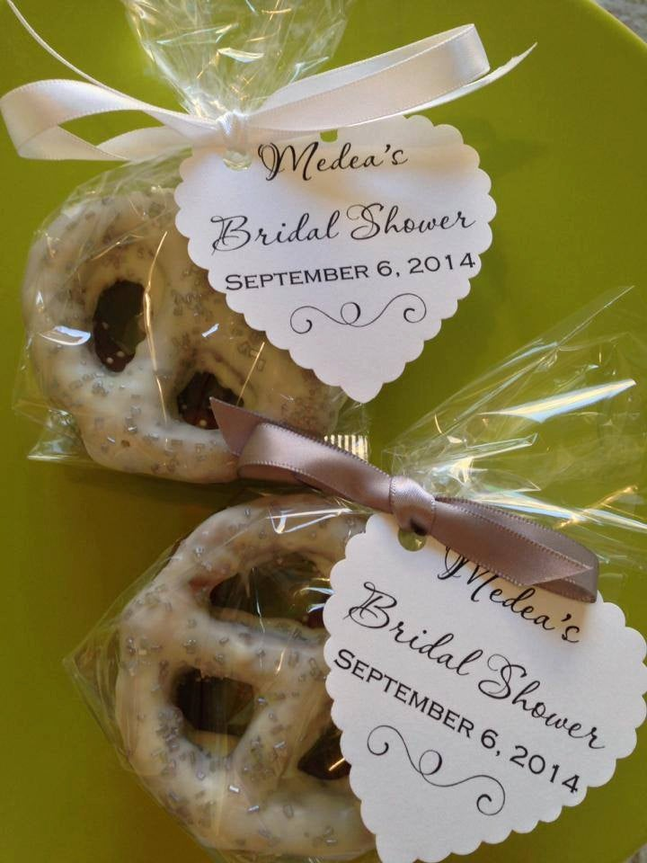 Chocolate Covered Pretzels Favor For Weddings, Bridal Showers, Birthday Parties With Tag