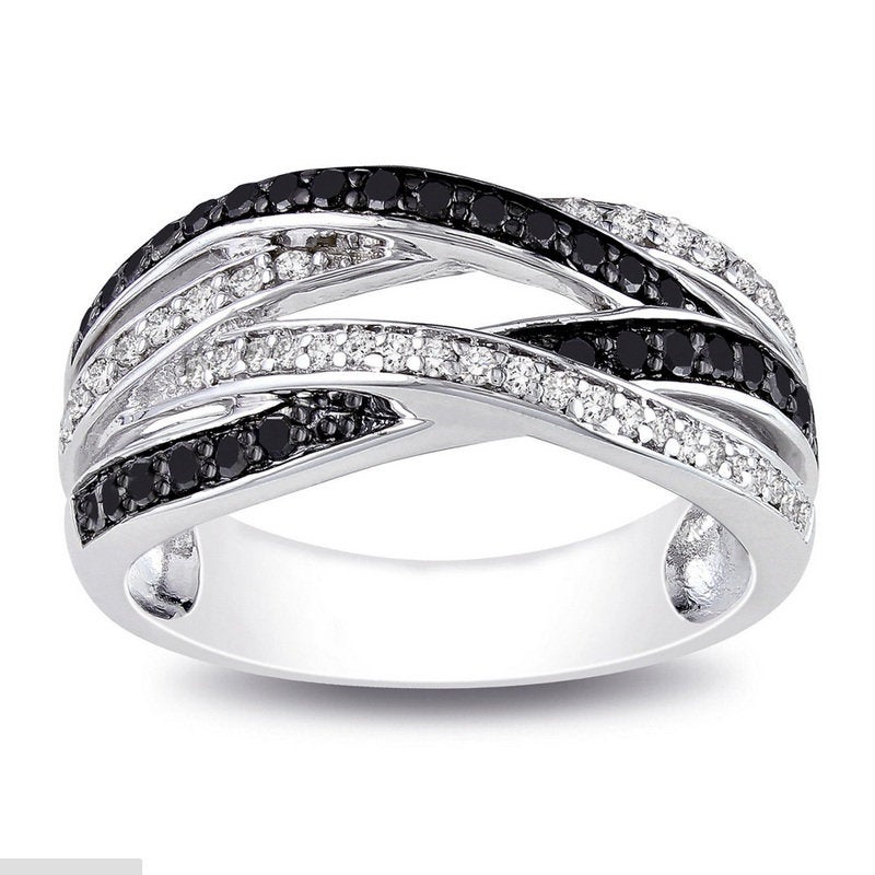 925 Sterling Silver Black & White Diamond Infinity Band Ring, Wedding Anniversary & Cz Criss Cross