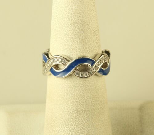Vintage Sterling Silver Cz & Blue Enamel Infinity Band Ring By Hidalgo