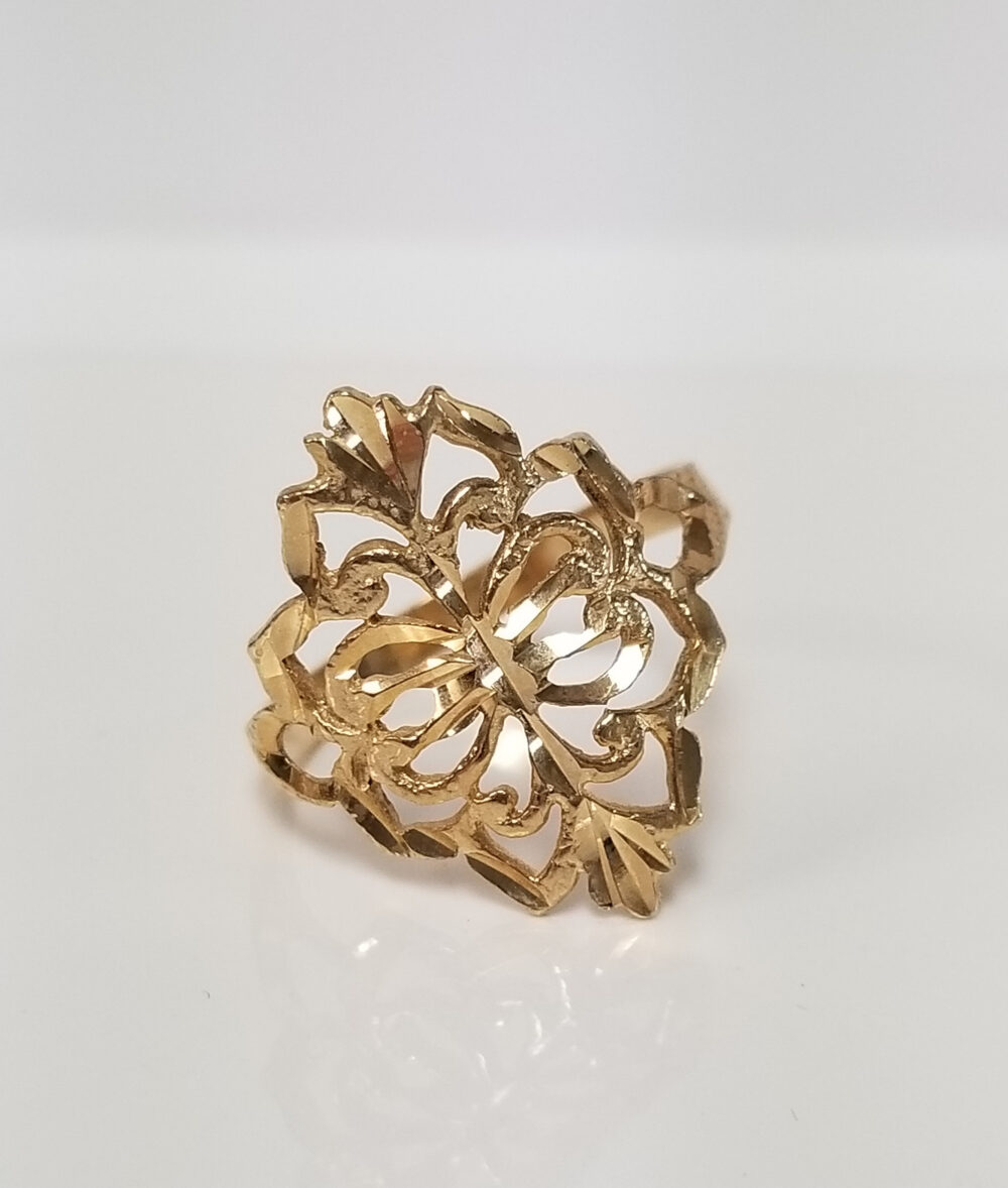 Sale Size 7.75 Estate 14K Yellow Gold Filigree Heart Scrolling Infinity Band Ring