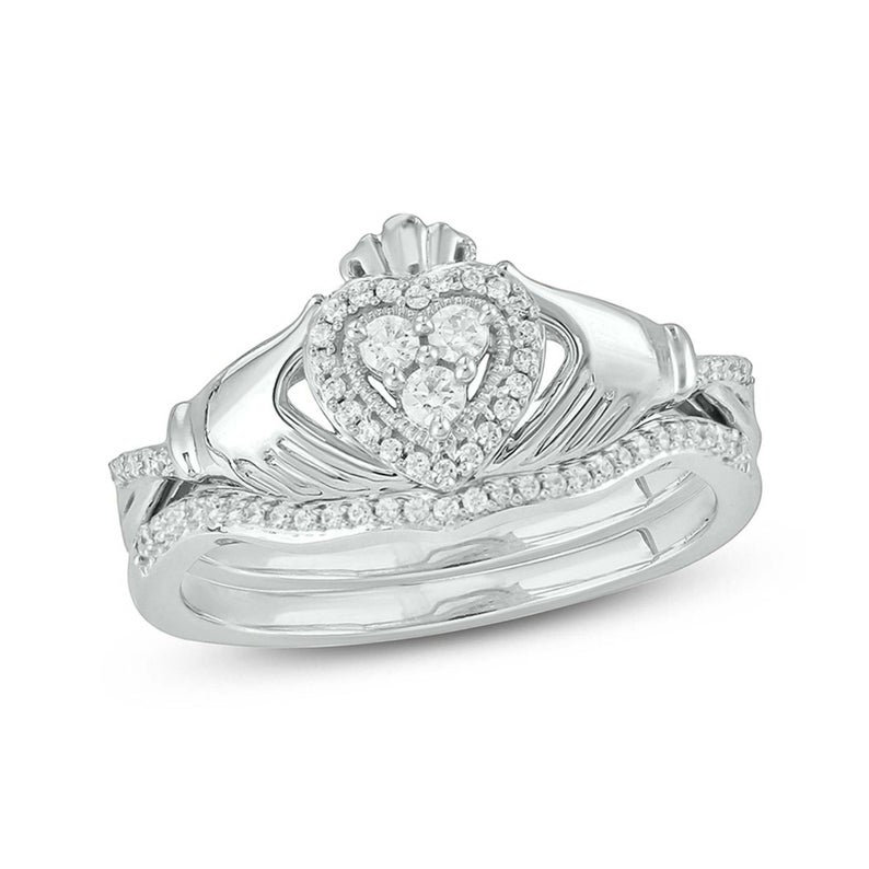 Claddagh Ring & Diamond Curved Wedding Band Available in 10K/14K 18K Solid Rose Gold, White Yellow Gold As Unique Gift Jewelry