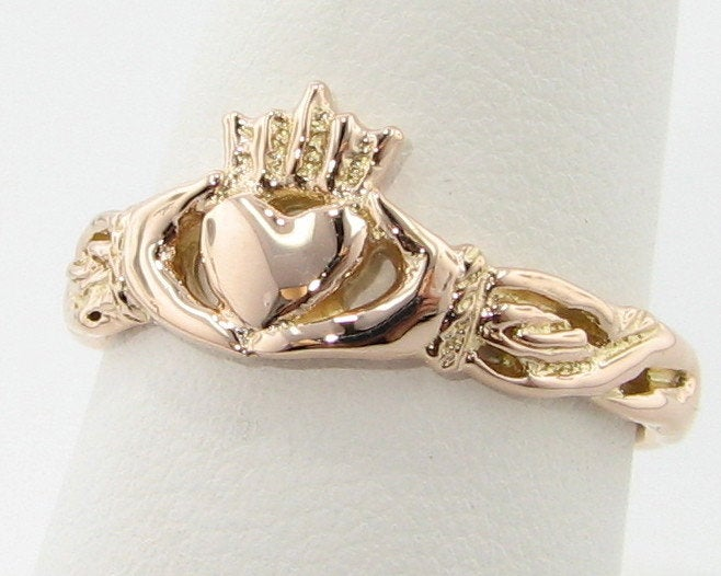 Rose Gold Claddagh Ring, Irish Wedding Band Friendship Ring, Hands Heart & Crown 14K Solid Rose Gold Pink